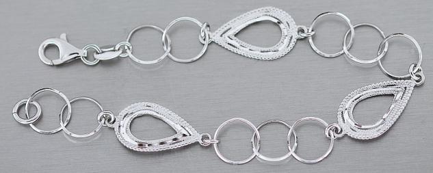 Armband Silber 925 - Silberarmband Tropfen funkelnd geschliffen - Armkette Damen