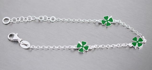 Kleeblatt Armband Silber 925 Glücksklee Kinder Mädchen Armkette Karabiner - Vorschau 2