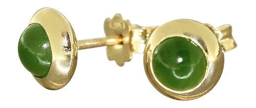 Ohrstecker Gold 585 mit Jade Cabochons - Goldohrstecker Jadestecker Ohrringe - Vorschau 1