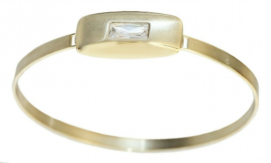 Massiver Armreif Gold 585 Zirkonia Baguette Armspange Armband Goldarmreif