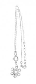 Silberkette 925 Collier mit Anhänger Blume Halskette massiv Karabiner 44 cm