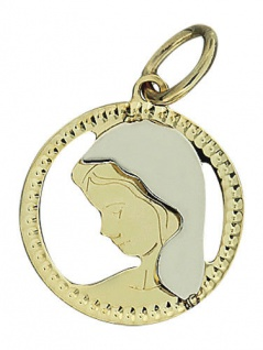 Hl. Maria - Goldanhänger 585 - Anhänger Gold 14 kt - Marienanhänger bicolor