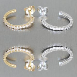 Kleine Creolen Weißgold oder Gelbgold 585 mit Zirkonia Ohrringe Ohrstecker .14k - Vorschau 2