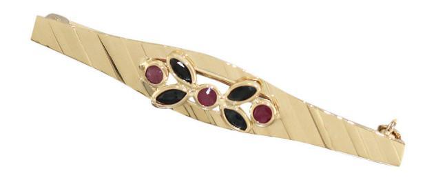 Klassische Brosche Gold 585 mit Rubin und Saphir Goldbrosche mit Edelsteinen