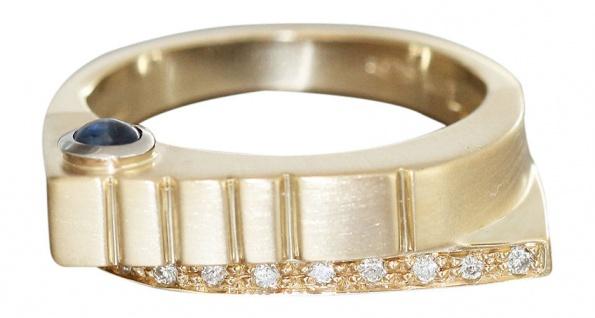 Massiver Designer Ring Gold 585 mit Brillanten Safir Goldring Brillantring RW 57