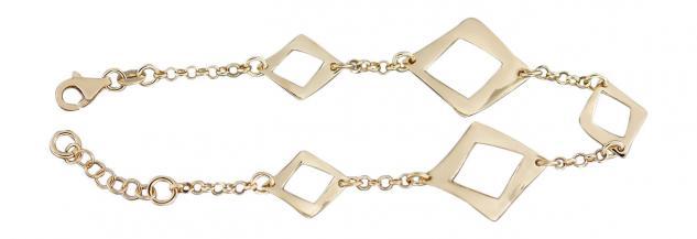 Trendy Armband Silber 925 vergoldet - massives Silberarmband - Armkette Gold pl