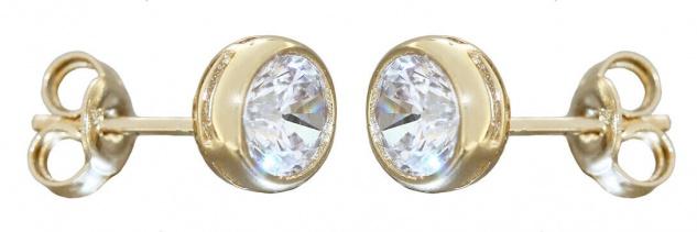 Ohrstecker Gold 585 große funkelnde Zirkonias Ohrringe Ohrschmuck 14 Karat