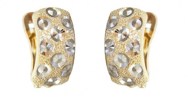 Klappcreolen Gold 585 bicolor Ohrringe diamantiert geschliffen Creolen Gold 14kt