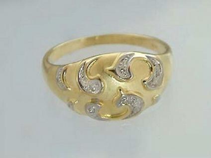 Breiter Goldring 585 mit Diamant Ring Gold Diamantring Damenring bicolor
