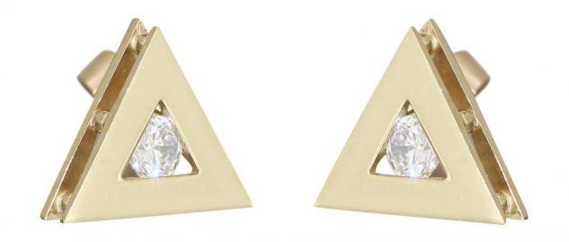 Designer Ohrstecker Gold 585 Dreiecke Gold mit Zirkonias Goldohrstecker Ohrringe
