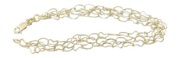 Armband Gold 585 mit Karabiner 3-reihig Armkette Damen 14 Karat Gelbgold