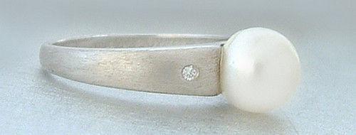 Klassischer Perlenring - Silberring 925 mit echter Perle und Zirkonias - Ring
