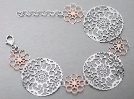 Breites Armband Silber 925 Rotgold - Silberarmband - Armkette - Blumen Rosegold