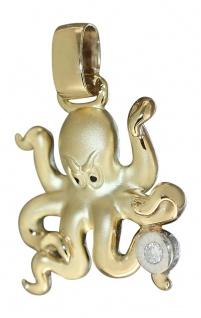 Entzückende Krake - Anhänger Gold 585 / 14 Karat mit Brillant - Goldanhänger