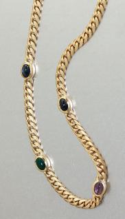 Halskette Gold 585 mit Saphier + Rubin + Achat - Goldkette - Kette Gold Collier