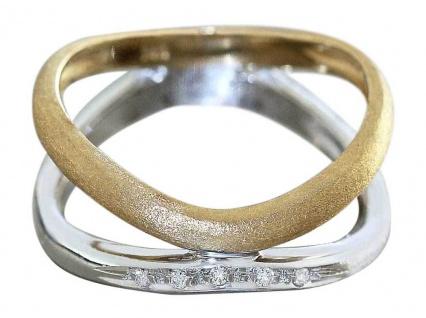 Ring Gold 585 Goldring mit Brillanten bicolor Damenring massiv 14 Karat