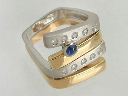 Top Designerring 585 exclusiver Brillantring bicolor massiver Goldring Ring Gold