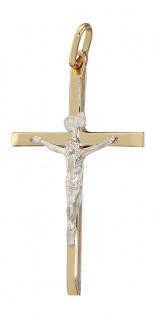 Kreuz Gold 585 mit Korpus Anhänger Goldkreuz Goldanhänger bicolor zur Kommunion