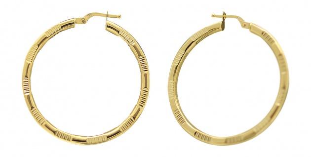 Creolen Gold 585 Ohrringe 14 Karat Goldcreolen Creole mit Muster 3, 6 cm