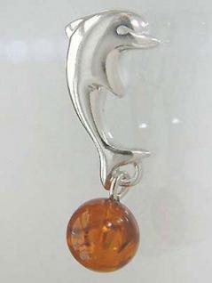 Delfin Anhänger Silber 925 mit Bernstein Silberanhänger Silberdelfin 925