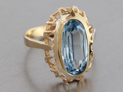 Ring Gold 585, Goldring 14 karat mit 1 Schmuckstein in blau, Damenring