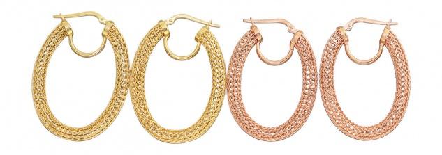 Ovale Creolen Silber 925 Gold oder Rotgold vergoldet Ohrringe Silbercreolen