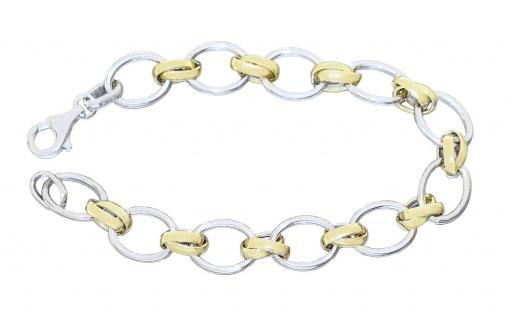 Armband Silber 925 bicolor Gelbgold vergoldet ovale Glieder Armkette Karabiner - Vorschau 1