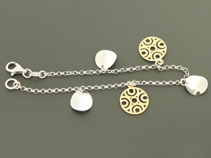 Trendy Armband Silber 925 mit Anhängern - Silberarmband - Anhänger Gold Armkette