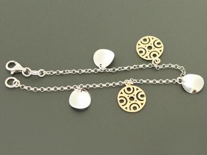 Trendy Armband Silber 925 mit Anhängern Silberarmband Anhänger Gold Armkette