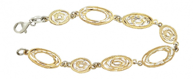 Super Armband Silber 925 bicolor - ovale Glieder - Silberarmband - Armkette Gold