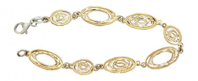 Super Armband Silber 925 bicolor ovale Glieder Silberarmband Armkette Gold