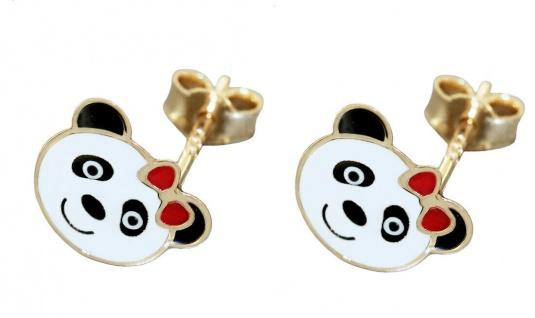 Mädchen Ohrstecker Gold 585 Panda Bär Ohrringe Kinder Ohrschmuck