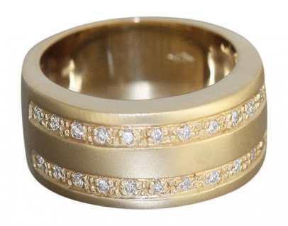 Brillantring schwerer Goldring 585 Bandring mit Brillanten 0, 30 ct. - Ring Gold