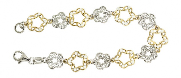 Massives Blumen Silberarmband 925 Silber und Gold Armband Silberkette Blume