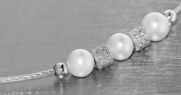 Halsreif Silber 925 Collier mit Perlen und Zirkonias Halskette Perle Damen
