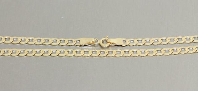 Goldkette 585 Panzerkette 4, 4 mm breite Halskette 14 Karat Kette Gold 50 / 55 cm