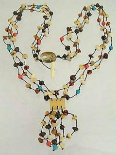 Bernsteinkette Collier Bernstein multicolor lange Halskette Damen