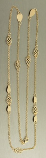 90 cm lange Silberkette 925 vergoldet - moderne Kette Silber - Gold - Halskette