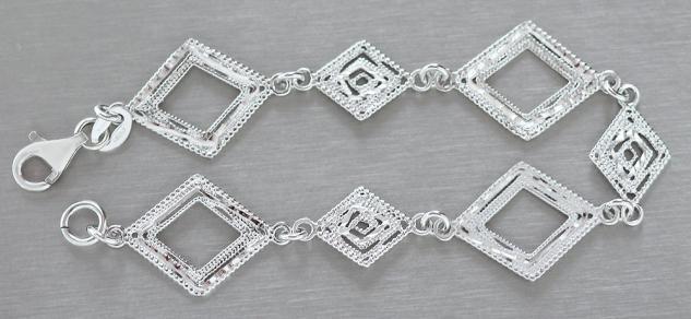 Armband Silber 925 - Silberarmband Rauten funkelnd geschliffen - Armkette Damen