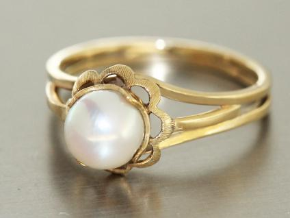 Ring Gold 585 RING in 14 kt Gold (585/000) mit 1 Perle