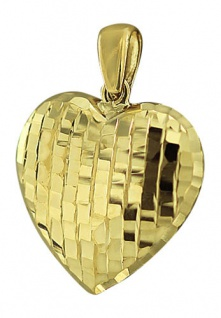 Funkelnd facettiertes Herz - Anhänger Gold 585 Goldherz edler Goldanhänger 14 kt