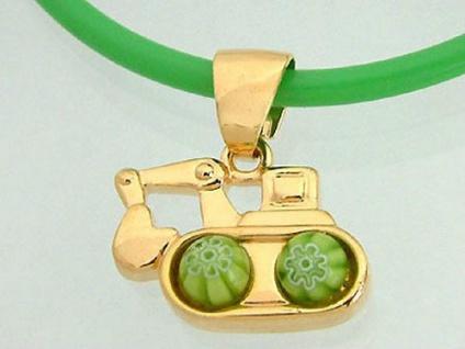 Anhänger Bagger Gold pl an hellgrüner Kautschukkette Kinderschmuck