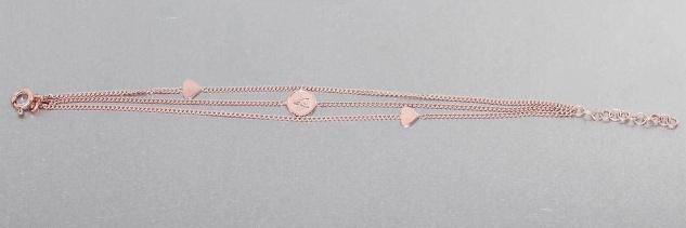 3-reihiges Armband Silber 925 Rotgold vergoldet Schutzengel u Herzen Armkette