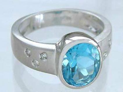 Klassischer Ring Weißgold 585 - Blautopaz Brillantring - Weißgoldring 14 kt Gold