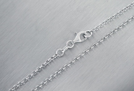 Silberkette 925 massive Erbskette 2, 2 mm stark Silber mit Karabiner 45 50 60 cm