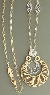 Collier Gold 585 - Goldkette mit Anhänger - Kette Gold bicolor - Halskette 14 kt