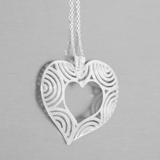 Silberkette 925 Anhänger großes Herz Kette Silberherz Collier Liebe Halskette