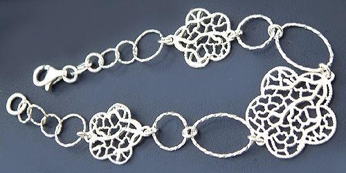 Massives Silberarmband 925 - tolles Armband Silber - Blumen Silberkette Armkette