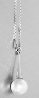 Silberkette 925 Anhänger Perle 10 mm weiß Halskette Damen Karabiner Venezianer