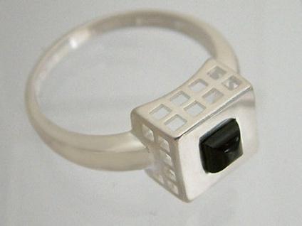 Spitzen Design Silberring 925 erhabenes Quadrat mit Onyx Ring Silber massiv